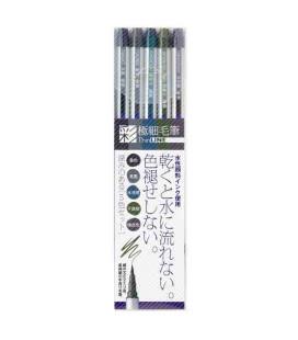 SAI ThinLINE extrafeiner Pinselstift - 5 Erdtöne