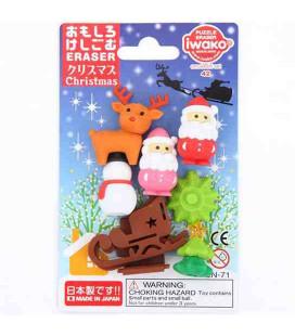 Iwako Puzzle Radiergummi - Christmas - (Radiergummis mit verschiedenen Designs) In Japan hergestellt