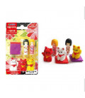 Iwako Puzzle Eraser - Doll & Lucky Cat - (Gomas de borrar con diseños) Hecho en Japón