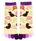 Fünf Zehen Socken für Damen – Kurochiku (Kyoto) – Nekotobara Modell- (Einheitsgröße 23-25cm)