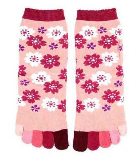Fünf Zehen Socken für Damen – Kurochiku (Kyoto) – Sakura Modell- (Einheitsgröße 23-25cm)