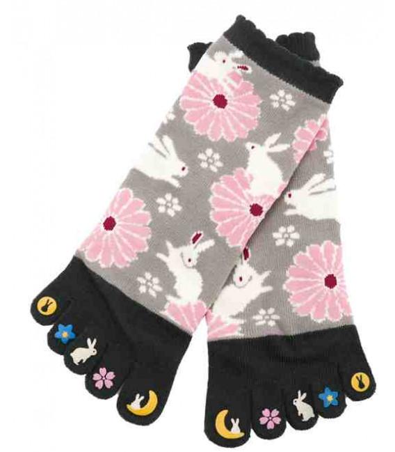 "Calcetines de mujer de ""cinco dedos"" - Kurochiku (Kyoto)- Modelo Usagi (Talla única 23-25 cm)"