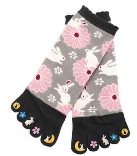 Fünf Zehen Socken für Damen – Kurochiku (Kyoto) – Usagi Modell- (Einheitsgröße 23-25cm)