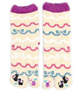 Flip Flop Socken für Damen – Kurochiku (Kyoto) – Ribbon Modell- (Einheitsgröße 23-25cm)