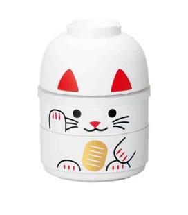 Hakoya Kokeshi Bento -Größe M- Modell 52677-6 (Maneki-Neko) – Farbe weiß