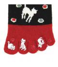 "Calcetines de mujer de ""cinco dedos"" - Kurochiku (Kyoto)- Modelo Mizutama (Talla única 23-25 cm)"