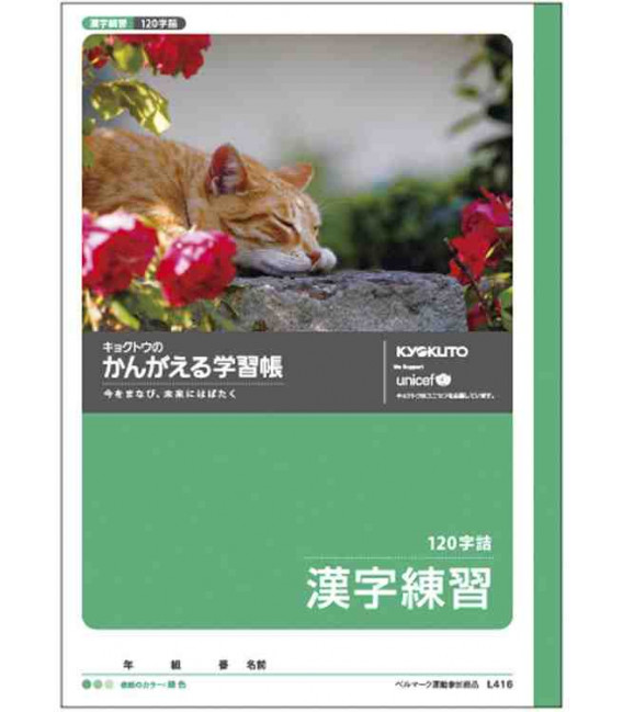 Cuadernillo Kyokuto para práctica de escritura de los Kanji - 120 kanjis por página