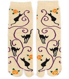 Flip Flop Socken für Damen – Kurochiku (Kyoto) – Kuroneko Momo Modell- (Einheitsgröße 23-25cm)