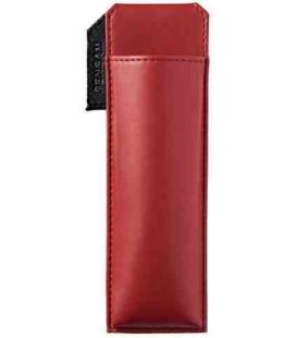 Japanischer magnetischer Stifthalter aus Leder - Modell Pensam 2001 (Red) - Rote Farbe