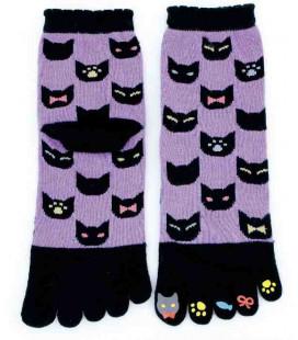 Fünf Zehen Socken für Damen – Kurochiku (Kyoto) – Neko Ichimatsu Modell- (Einheitsgröße 23-25cm)
