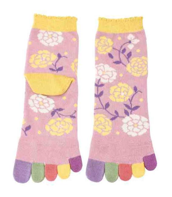 Fünf Zehen Socken für Damen – Kurochiku (Kyoto) – Hana Modell- (Einheitsgröße 23-25cm)
