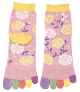 "Calcetines de mujer de ""cinco dedos"" - Kurochiku (Kyoto)- Modelo Hana (Talla única 23-25 cm)"