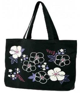 Japanische Tasche Kurochiku - Modell schwarze Blumen - 100% Baumwolle
