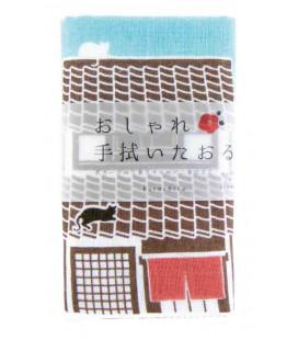 Japanisches Handtuch tenugui Kurochiku (Kyoto)- Modell Neko Sanpo