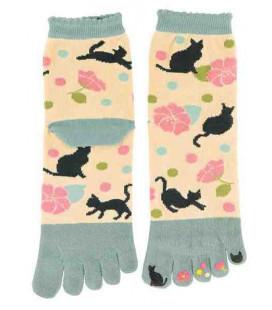 Fünf Zehen Socken für Damen – Kurochiku (Kyoto) – Yumemineko Modell- (Einheitsgröße 23-25cm)