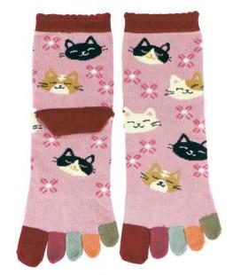 "Calcetines de mujer de ""cinco dedos"" - Kurochiku (Kyoto)- Modelo Nekodukushi (Talla única 23-25 cm)"