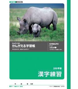 Kyokuto -Heft für kanji-Schreibübungen - 200 kanji - Zeichen pro Seite