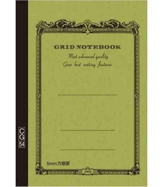 Apica CG54 - Notebook (Tamaño B6 - Color verde caqui - Pauta cuadriculada - 104 páginas)