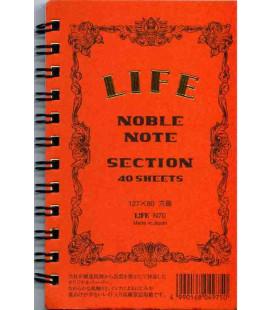 Life Noble Note - N70 (Größe 127x80mm - Orange- Kariert - 40 Blätter)