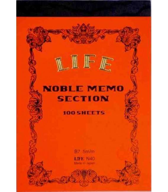 Life Noble Memo - N40 (Tamaño B7 - Color naranja - cuadriculas - 100 paginas)