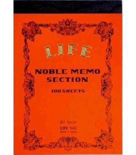 Life Noble Memo - N40 (Größe B7 - Orange - Kariert - 100 Blätter)