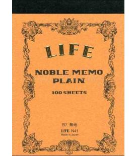Life Noble Memo - N41 (Größe B7 - Braune Farbe - Unliniert - 100 Blätter)