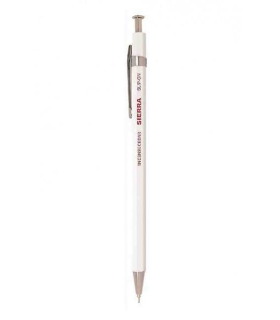 Sierra japanischer Kugelschreiber (Zedernholz Gehäuse) - Schwarze Tinte - Größe L - weiße Farbe