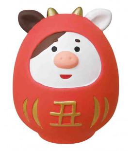 Decole - Daruma rojo en cerámica ushi - Concombre Fuku Mono - Modelo ZSG-43703