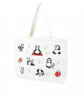 Japanische Tasche Kurochiku - Modell Tote Yoga panda - 100% Baumwolle
