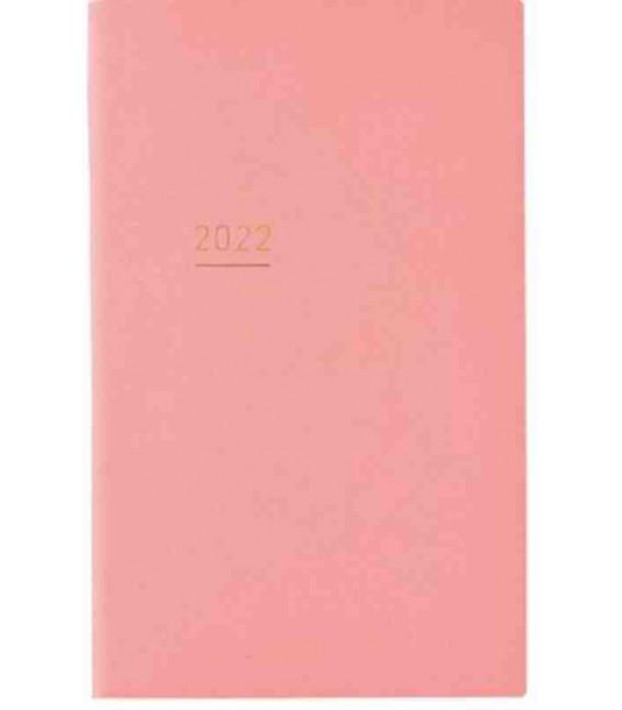 Jibun Techo Kokuyo - Zeitplaner 2022 - Lite Mini Diary - B6 Slim - Pinke farbe